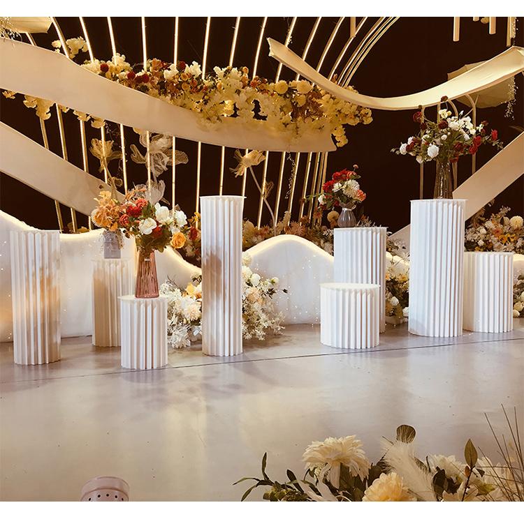 JAROWN Wedding Props Stage Multicolor Origami Round Pillar Three Piece Shopping Mall Decor Home Birthday Party Arrangement Decor (45)