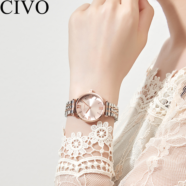 CIVO Luxury Crystal Watch Women Waterproof Rose Gold Steel Strap Ladies Wrist Watches Top Brand Bracelet Clock Relogio Feminino 3