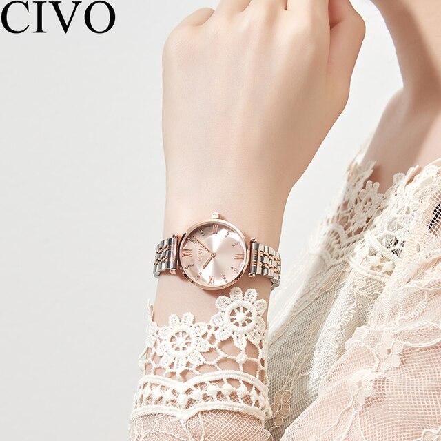CIVO Luxury Crystal Watch Women Waterproof Rose Gold Steel Strap Ladies Wrist Watches Top Brand Bracelet Clock Relogio Feminino 2