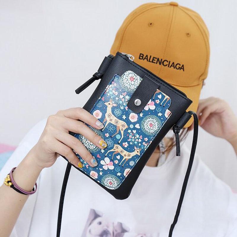 Useful Fashion 3D Cartoon Printing Purse Mobile Phone Bag Ladies Shoulder Bag Call Phone Bags Cartoon Cute Print Small Wallet