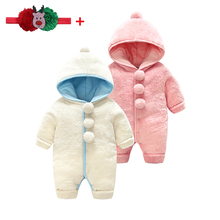 Baby Winter Clothes For Newborn Overalls Velvet Thick Cotton Warm Pom Pom Hooded Rompers Long Sleeve Infant Boy Girl Jumpsuit 0M girls pom pom solid jumpsuit