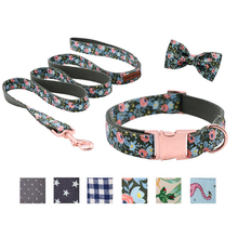 Unique Style Paws Dog Collars or Leash Flower Print with Sturdy Cotton Tape Collar for Pets