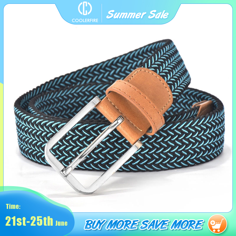 Men Women Casual Knitted Belt Woven Canvas Elastic Expandable Braided Stretch Belts Plain Webbing strap
