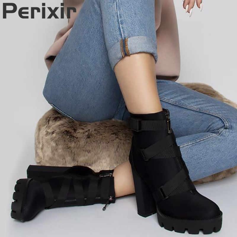 2019 yeni moda bahar sonbahar platformu yarım çizmeler kadın 12cm kalın topuk Platform çizmeler bayanlar işçi botları siyah büyük boy 43