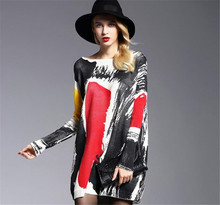 Autumn Winter Fashion Oversize Sweaters Dress Women Pullovers Warm Long Casual Print Batwing Sleeves dropshipping
