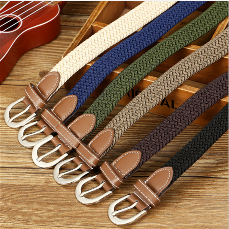 Meihuida Unisex Women Men Casual Elastic Stretch Canvas Braided Woven Leather Waistband Waist Belt Jeans