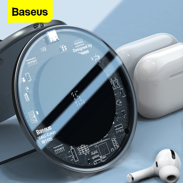 Baseus 15W Qi Wireless ChargerสำหรับAirpods Pro iPhone 11 Xs Max Fast Wireless Charging PadสำหรับSamsung S10 s9 Huawei P30 Xiaomi