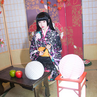 High Quality Japanese Women Cosplay Kimono Yukata With Obi Female Long Sleeve Satin Kimono Print Floral&Butterfly Stage Costume