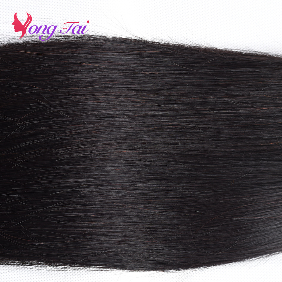 Yuyongtai Straight Hair 3 Bundles with 1 Closure Malaysian Non remy  Hair With Lace Front 13*4 Free Shipping