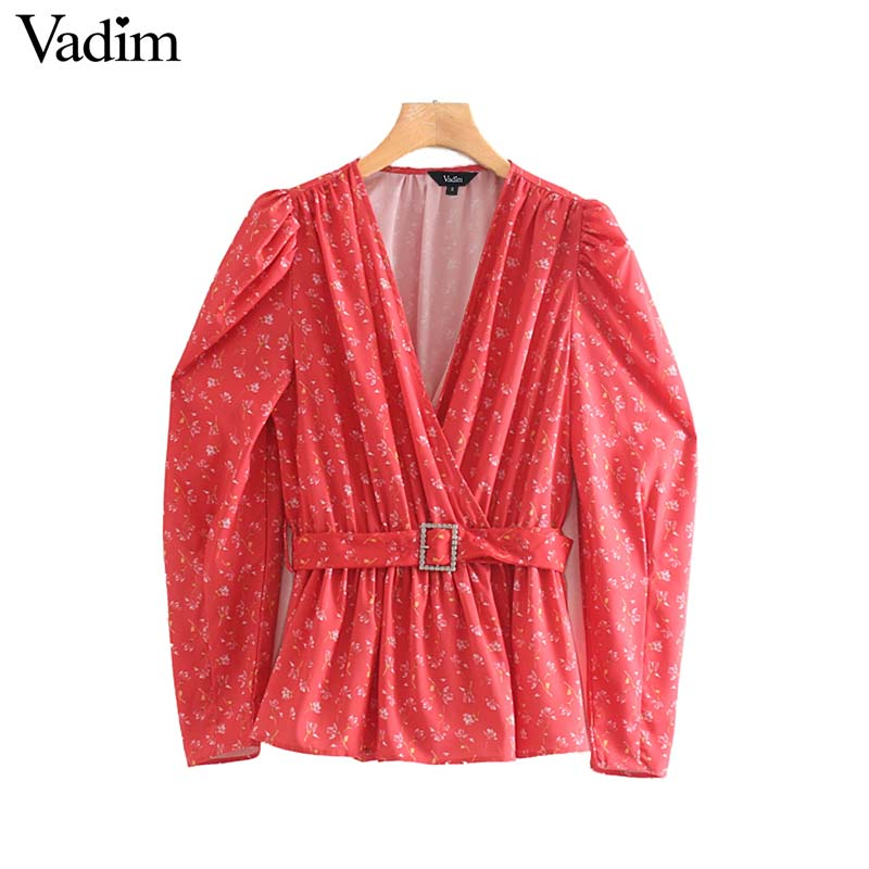 Vadim V-Neck Blouse Belt Pleated-Shirt Elegant Top Long-Sleeve Elastic-Waist Chic-Print