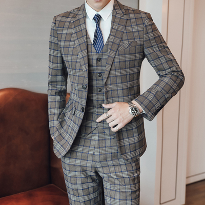 Men Suit For Wedding Tuxedo 3 Pieces Suit Men 2019 Terno Masculino Slim Fit Khaki Plaid Costume Homme Mariage Suits Traje Hombre