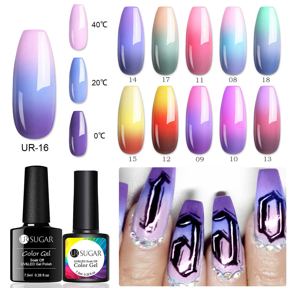 UR Gula Suhu Uv Gel Cat Kuku Termal Perubahan Gel Hybrid Pernis Semi Permanen Gel Polish Nail Art Suasana Hati Thermo