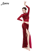 새로운 밸리 댄스 스팽글 Bellydance 통기성 밸리 댄스 의상 여성 무대 착용 탑과 롱 스커트 Fahion Dace Wear