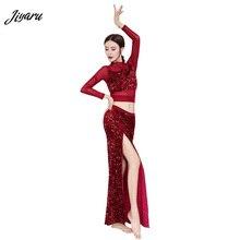 Nueva danza del vientre lentejuelas danza del vientre transpirables trajes de baile del vientre mujeres desgaste del escenario Top y falda larga Fahion Dace Wear