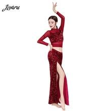Yeni oryantal dans pullu oryantal dans nefes oryantal dans kostümleri kadın sahne giyim üst ve uzun etek moda dans giyim
