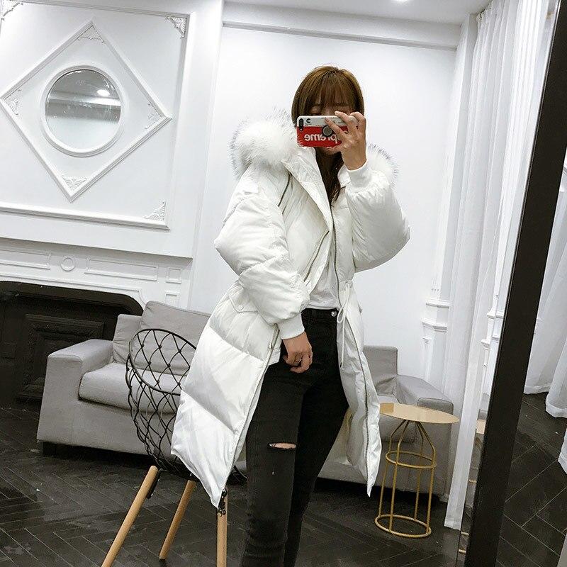 Korean Thick Long Winter White Down Jacket Women Large Real Racoon Fur Collar Loose Womens Coat Chamarras De Mujer KJ434 S