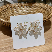 New South Korea Holiday Wind Flowers Summer Small Fresh Earrings Fashionable Elegant Dropping For Women
