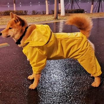 Mono impermeable para perro, capa para lluvia, poncho para mascota de cuatro patas, chaqueta para lluvia, ropa resistente al agua, impermeable desmontable para perro
