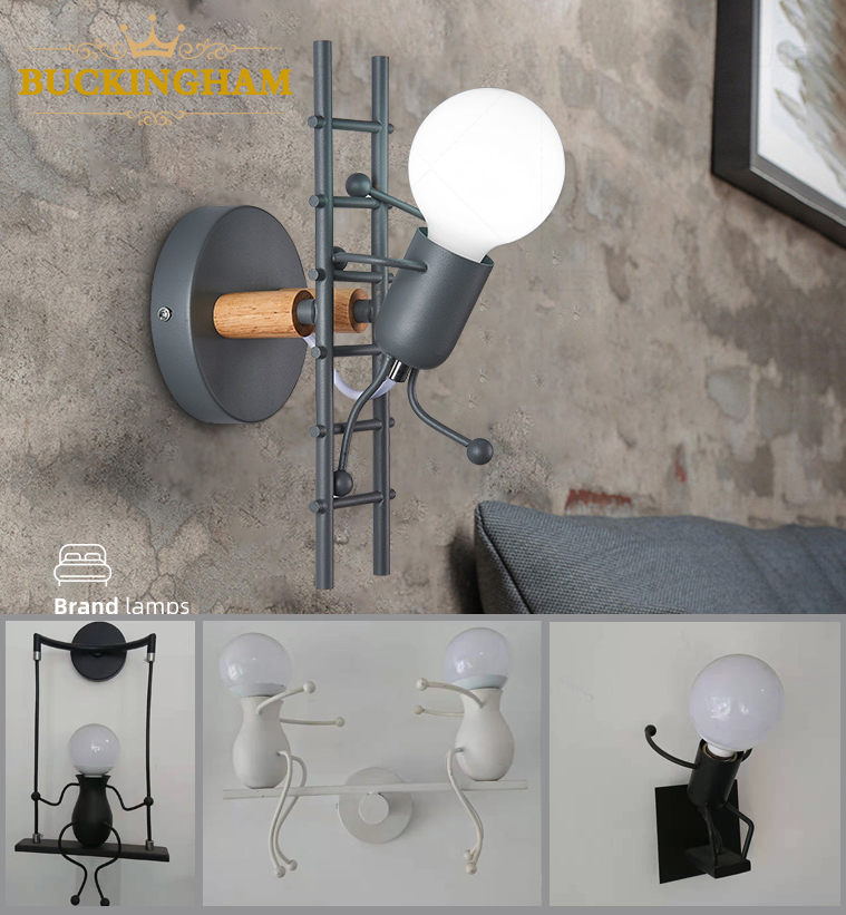 Simple Nordic Modern Cartoon Doll Wall Light Creative Wall Lamp Iron Small Man LED Light Robot Shape For Children  Living Room