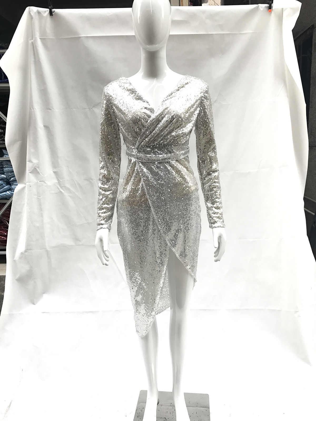 Vestidos 2019 женское платье, женское блестящее платье с длинными рукавами и v-образным вырезом, сексуальное Клубное платье
