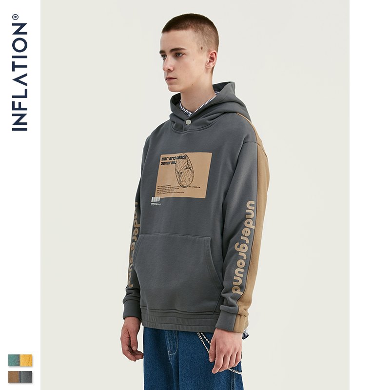 Image 5 - INFLATION 2019 Men Hoodies Dropped Shoulders Hoodie With Printed 