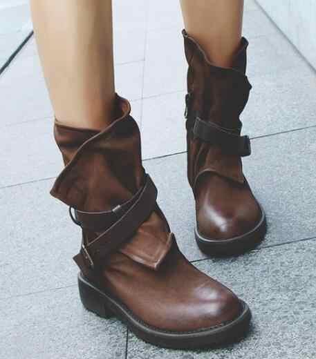 2018 טבעי עור נשים מגפי אמצע עגל שחור שטוח העקב מקורי עיצוב בעבודת יד בציר גברת נעליים יומיומיות חדש