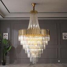 Большая Хрустальная люстра, Золотая роскошная вилла, украшение для гостиной, светодиодный светильник