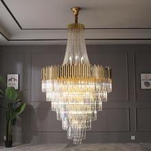 Candelabro de cristal grande, dorado, de lujo, para villa, decoración de sala de estar, candelabro LED