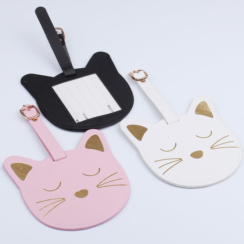 3 Colors Travel Accessories Gold Stamp Cat Luggage Tag PU Suitcase ID Addres Holder Baggage Boarding Tag Portable Label