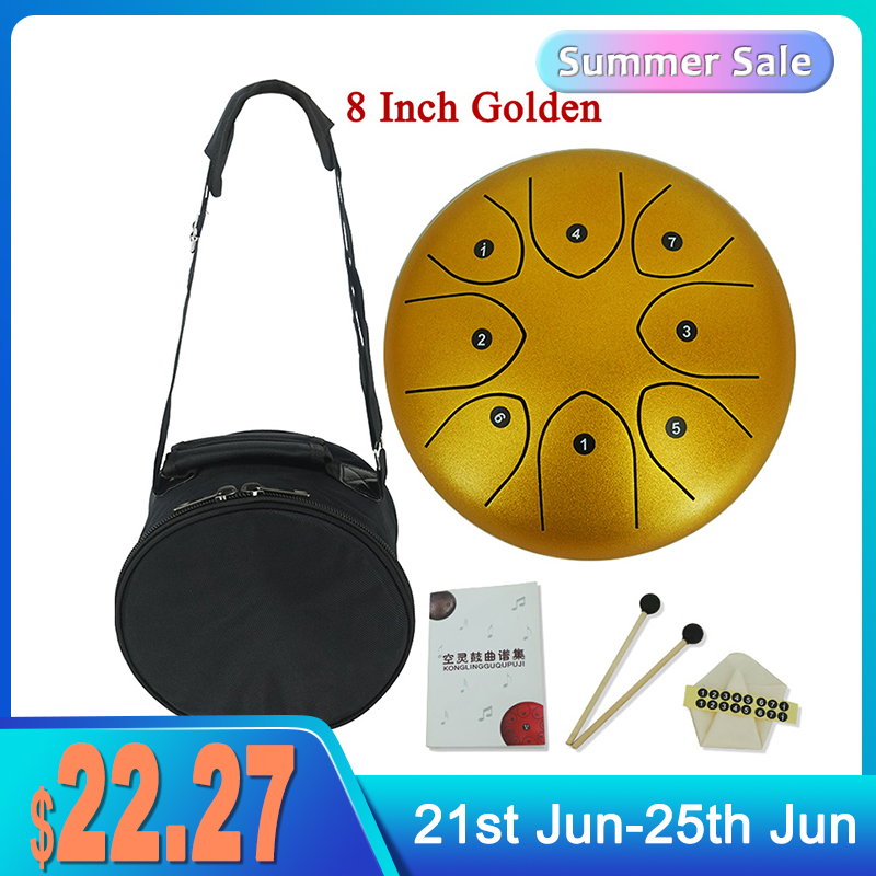 6 Inch 8 Inch Tongue Drum 8 Tune Steel Hand Pan Drum Tank Drums With Drumsticks Padding Bag Percussion Instruments Accessories