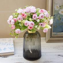 15 głów jedwabne róże herbaciane mały bukiet na boże narodzenie ślub w domu nowy rok sztuczne kwiaty do dekoracji róża sztuczne kwiaty tanie tanio amorobe AB9243 Bukiet kwiatów Jedwabiu Ślub 21 Heads Artificial Rose Silk Rose Bouquet Fake Flower Autumn Decorations