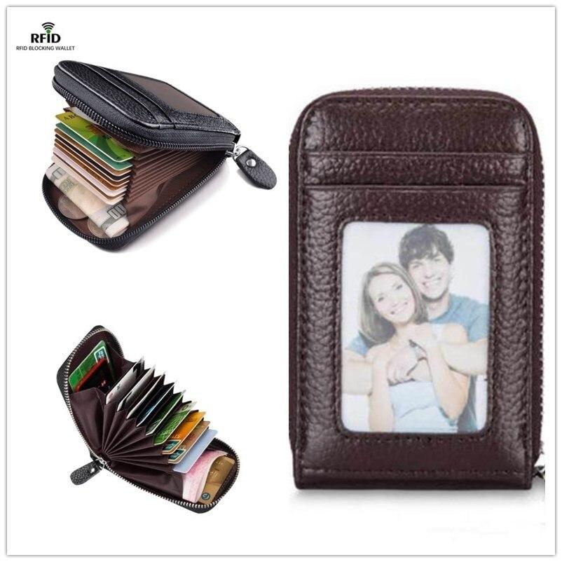 Men's Wallet Leather Credit Card Holder RFID Blocking Zipper Pocket