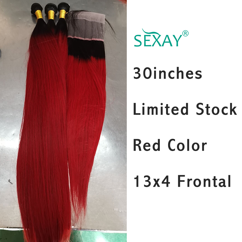 Sexay 30inch Red Straight Hair With Frontal Limited Stock Brazilian Human Hair