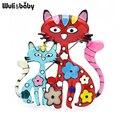 Эмалевые Броши Wuli & baby в виде пары, украшена двумя цветочками, эмаль, броши-булавки в виде кошек, новая мода значок для женщин, ювелирное издел...
