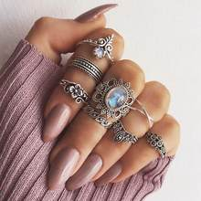 11 Pcs/10 Pcs/8 Pcs Bohemian Vintage Flower Imitation Crystal Figure Set Ring Europe And America Alloy Gem Joint Ring(China)