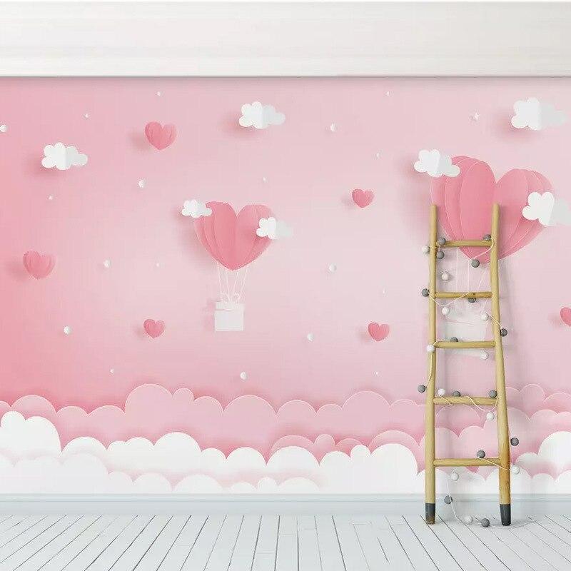 Environmentally Friendly Nonwoven Fabric CHILDREN'S Room Wallpaper Bedroom Pink Mural Bedside Background Wallpaper 6D Heart