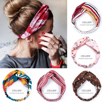 2020 NEW Hair Accessories for Women Girls Hair Bands Print Headbands Vintage Cross Turban Scarf image