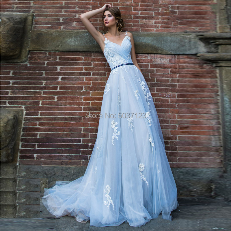 Vestido De Noiva Light Blue Wedding Dresses Lace Appliques  A Line V Neck Spaghetti Straps Illusion Bridal Gown Court Train
