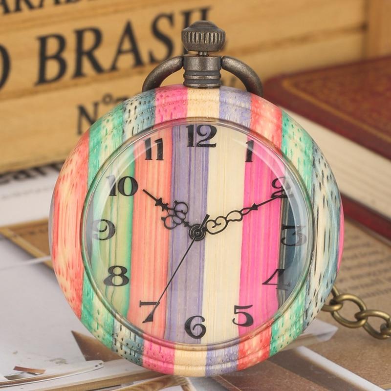 Unique Colorful Wood Quartz Pocket Watch Fashion Candy Mixed Color Wooden Round Case Analog Chain Clock Gift Relojes De Bolsillo