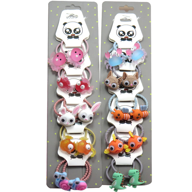 10PCS/LOT Lovely Animals Rabbit Elastic Hair Bands For Girls Handmade With Card Scrunchy Kids Hair Accessories For Women NEW