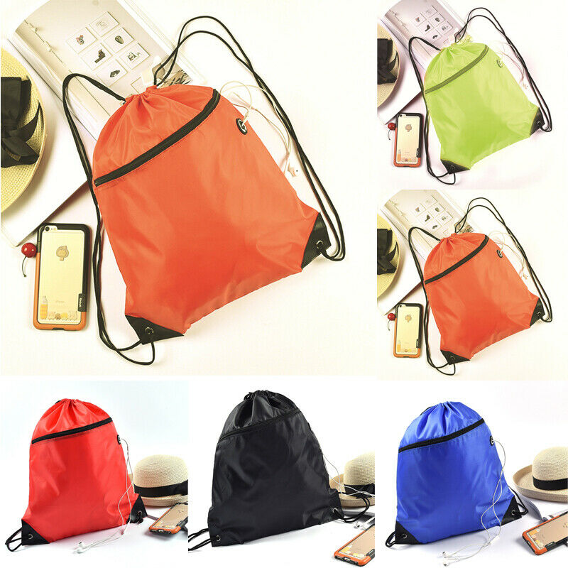 Unisex Drawstring Backpack Waterproof Gym PE Swim School Dance Shoes Sport Bags