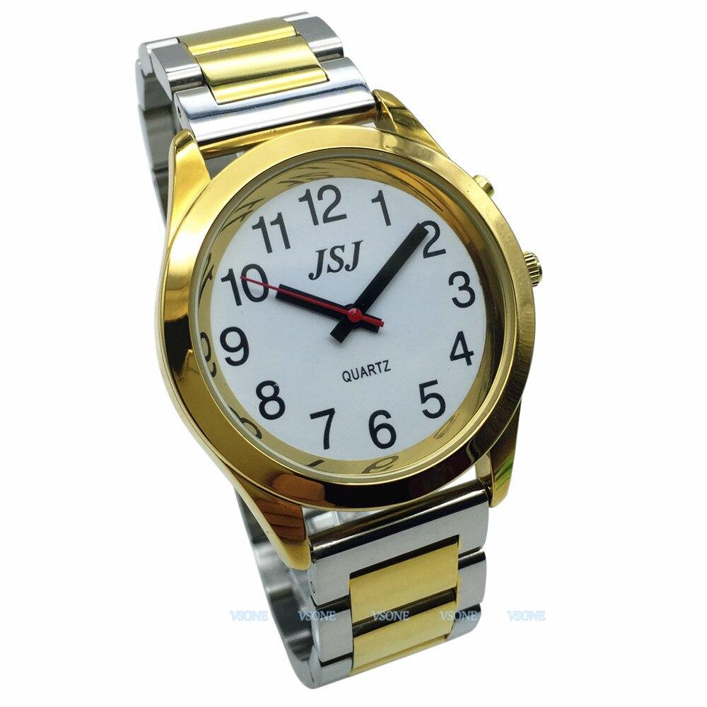 Английские говорящие часы с функцией будильника, говорящая Дата и время, белый циферблат, складная застежка, золотой чехол, бирка-705