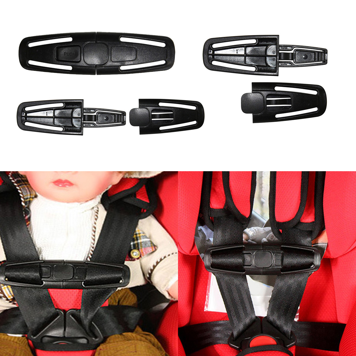 High Quality Car Baby Safety Seat Strap Belt Harness Chest Child Clip Safe Buckle 1pc Toddler Clamp Seat Belts Accessories