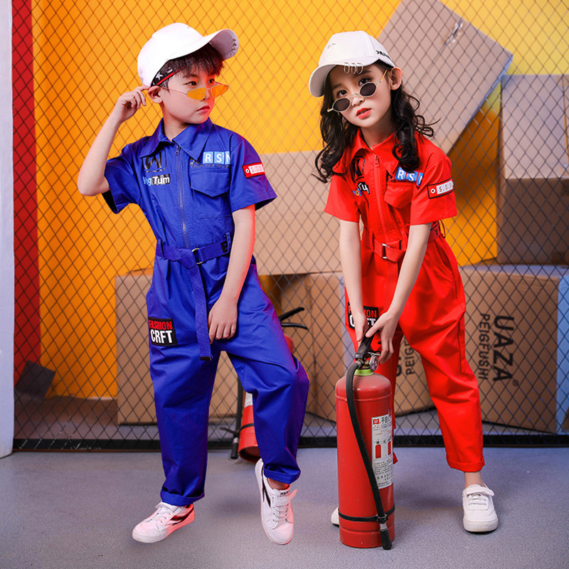 Kids Cool Short Sleeve Hip Hop Clothing Blue Red Loose Jumpsuit Overalls For Girls Boys Jazz Dance Costumes Dancing Clothes Wear