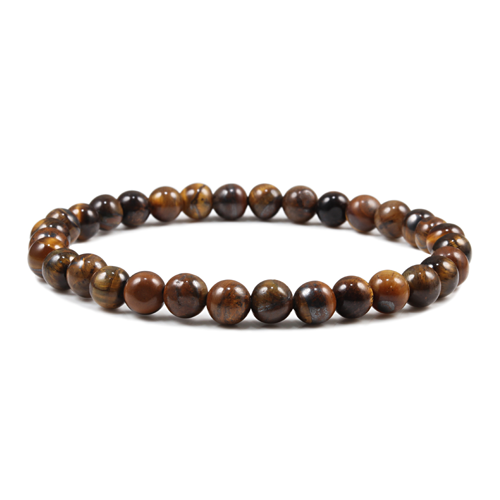 Image 4 - 6/8/10 mm Tiger Eye Natural Beaded Bracelet Prayer Female  Pulseira bracelsts