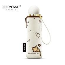 Olycat Leuke Mini Paraplu Kat Ultralight Pocket Kids Paraplu Vijf Opvouwbare Zonbescherming Winddicht Cartoon Paraplu Regen Vrouwen