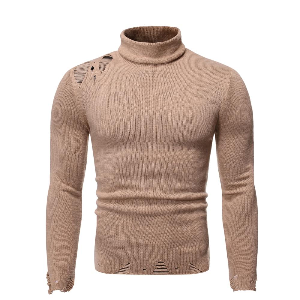 Autumn New Men's Sweater Knitted Loose Turtleneck Sweater Men