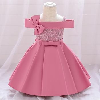 2020 платье для дня рождения с одним словом и бантом для 1 года, платье подружки невесты для крещения для маленьких девочек вечерние платья при...