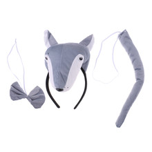 Kids Animal Costume Set Wolf Headband Tails Bow Tie Role Play Cosplay Accessory(China)