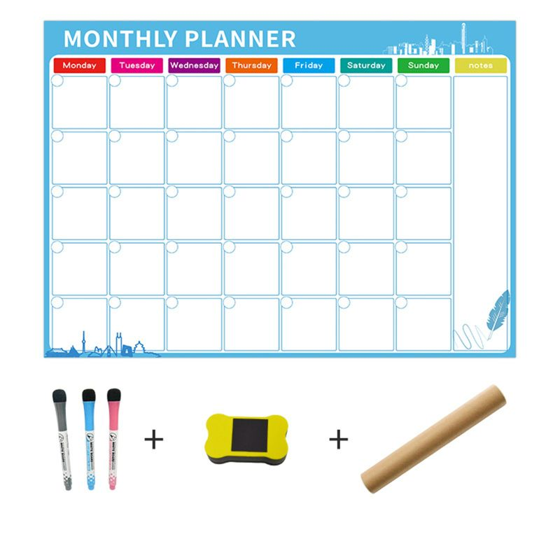 Magnetic Magnetic Dry Erase Calendar For Fridge 3 Fine Tip Markers And Large Eraser With Magnets- Monthly Whiteboard For Wall: